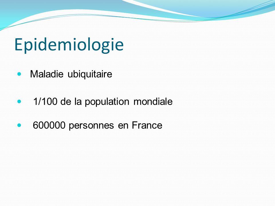 Epidemiologie Maladie ubiquitaire 1/100 de la population mondiale