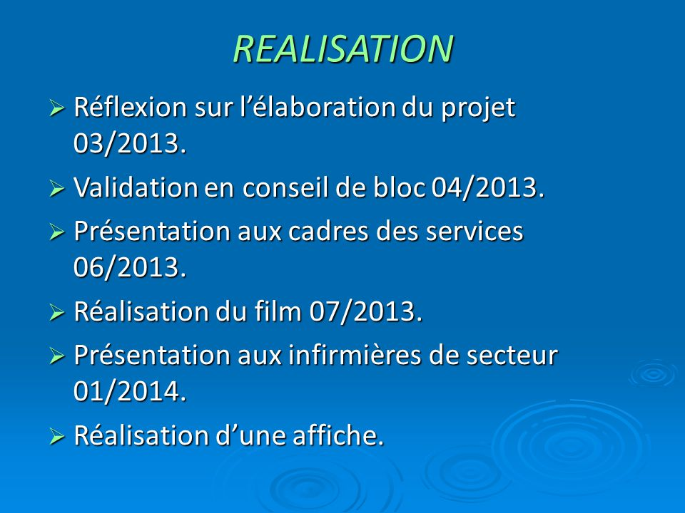 REALISATION Réflexion sur l'élaboration du projet 03/2013.