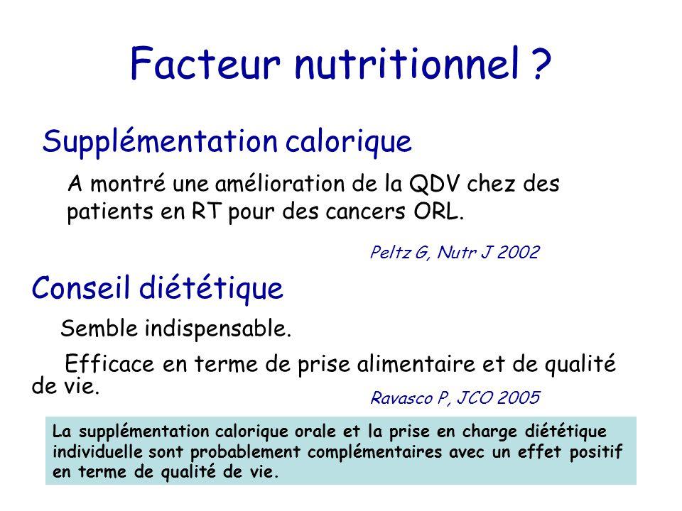 Facteur nutritionnel Supplémentation calorique Conseil diététique