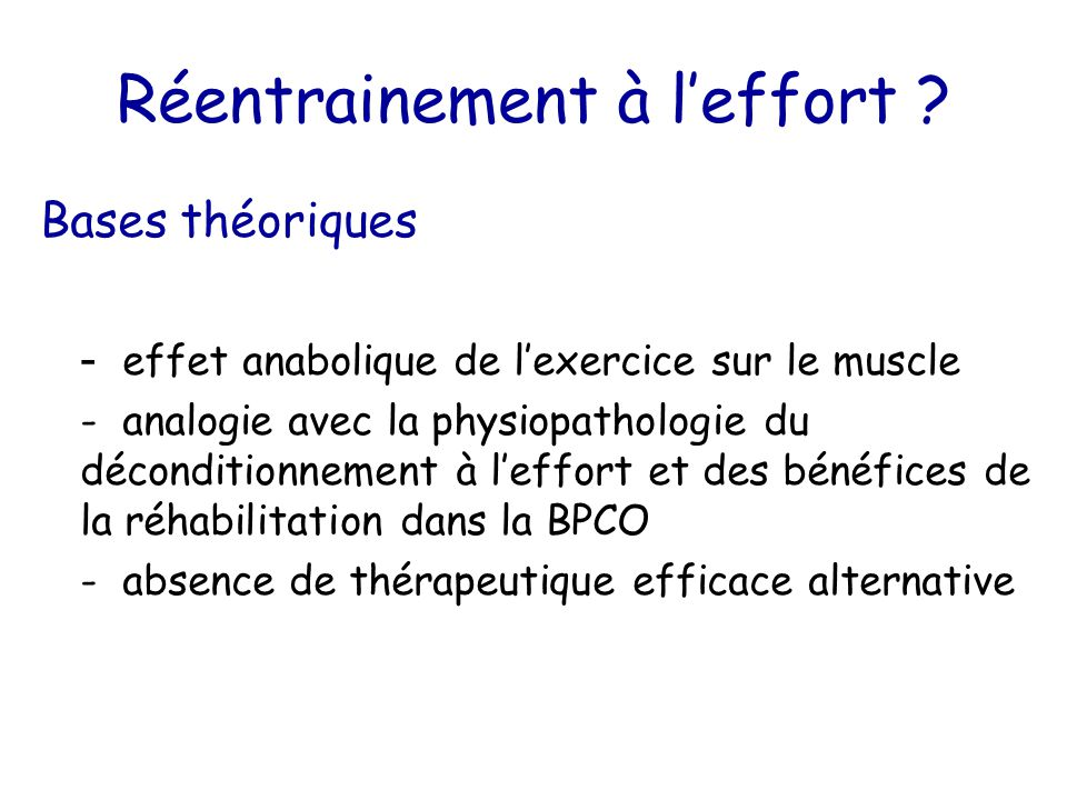 Réentrainement à l'effort