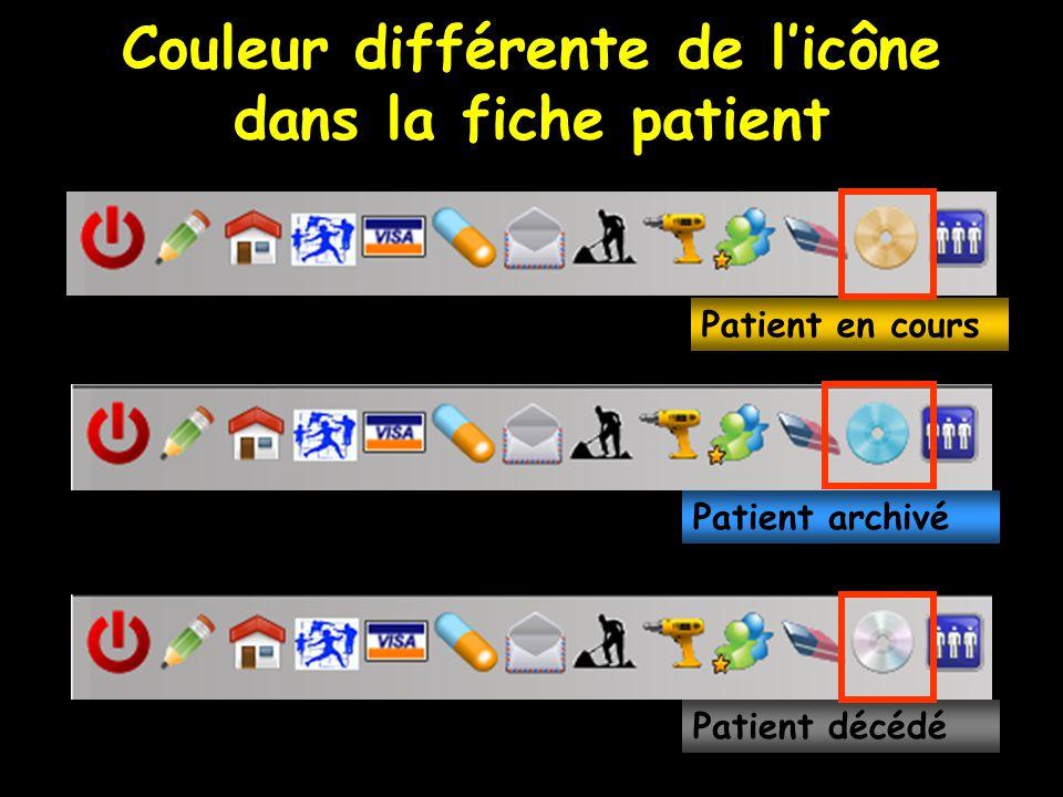 Couleur différente de l'icône dans la fiche patient