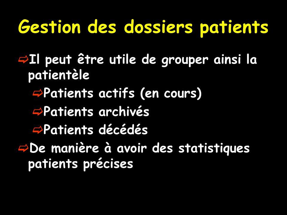 Gestion des dossiers patients