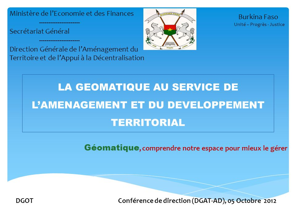 DGOT Conférence de direction (DGAT-AD), 05 Octobre 2012