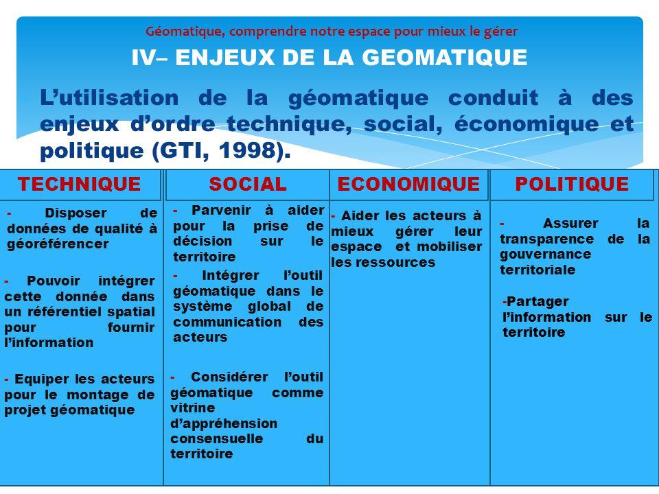 IV– ENJEUX DE LA GEOMATIQUE