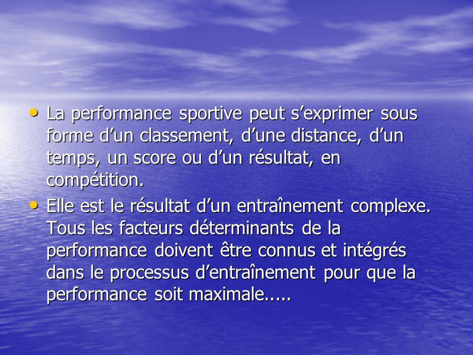 La performance sportive peut s'exprimer sous forme d'un classement, d'une distance, d'un temps, un score ou d'un résultat, en compétition.