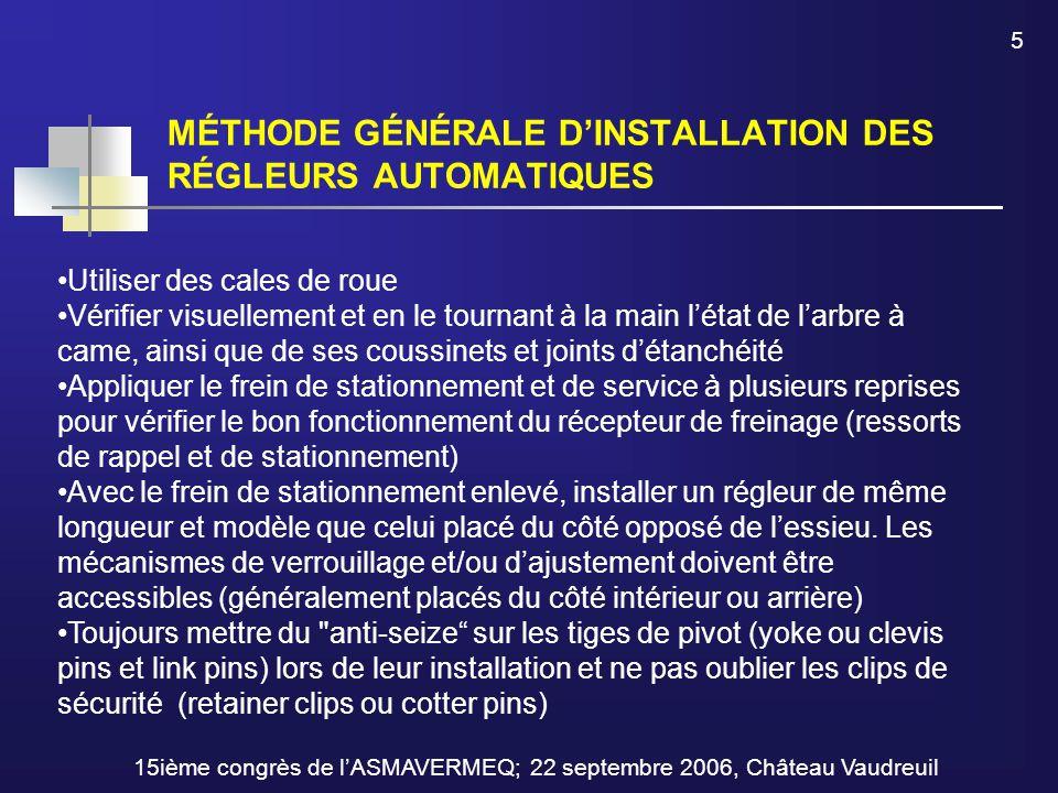 MÉTHODE GÉNÉRALE D'INSTALLATION DES RÉGLEURS AUTOMATIQUES