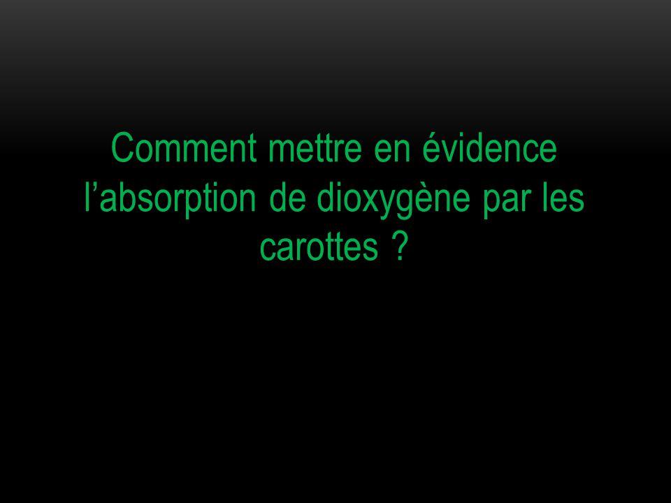 Comment mettre en évidence l'absorption de dioxygène par les carottes