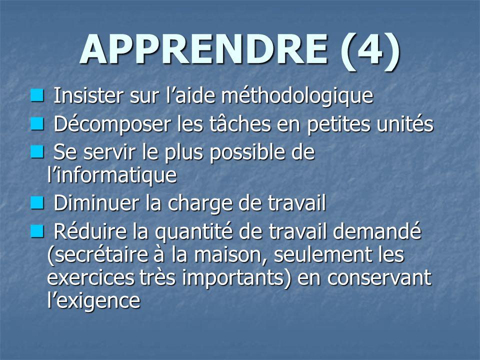 APPRENDRE (4) Insister sur l'aide méthodologique