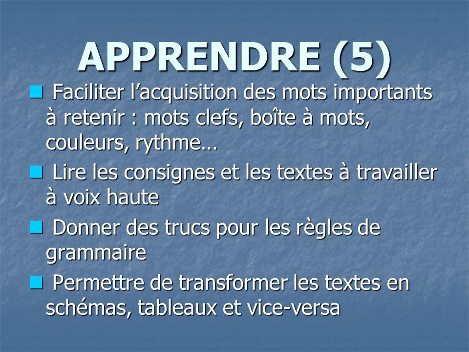 APPRENDRE (5) Faciliter l'acquisition des mots importants à retenir : mots clefs, boîte à mots, couleurs, rythme…