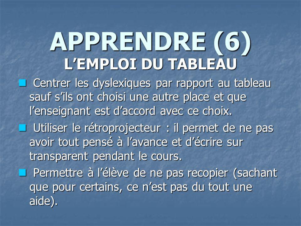 APPRENDRE (6) L'EMPLOI DU TABLEAU