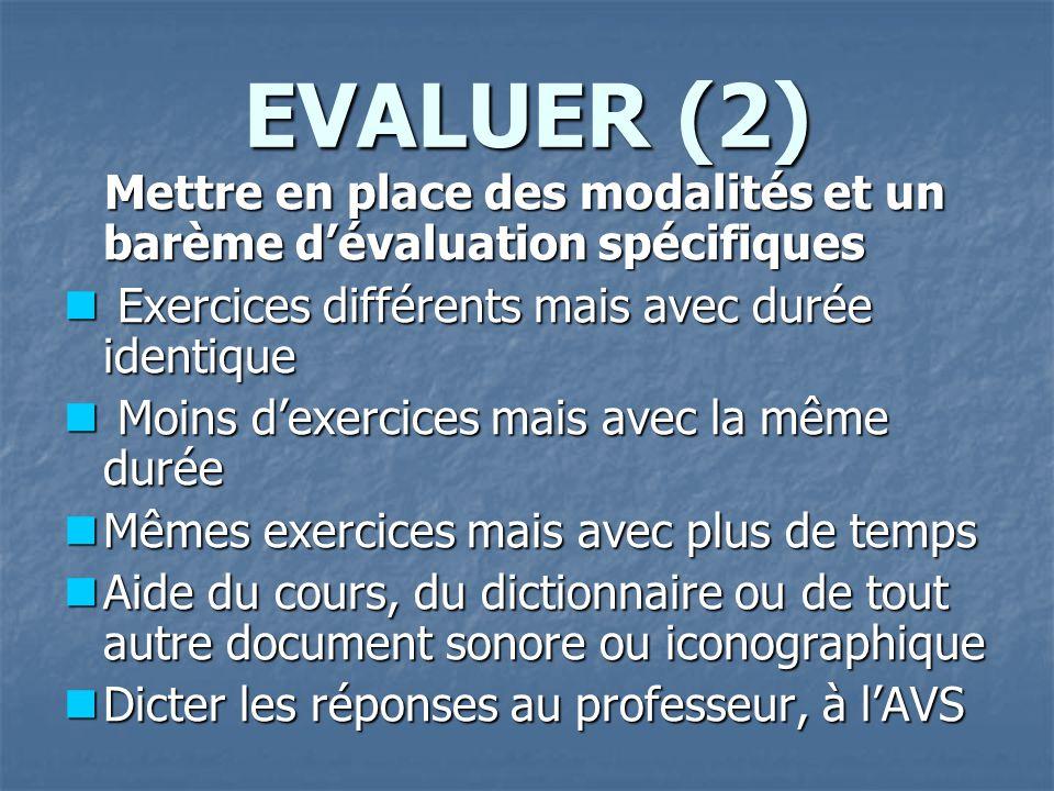 EVALUER (2) Mettre en place des modalités et un barème d'évaluation spécifiques. Exercices différents mais avec durée identique.