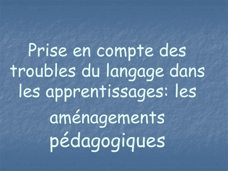 Prise en compte des troubles du langage dans les apprentissages: les aménagements pédagogiques