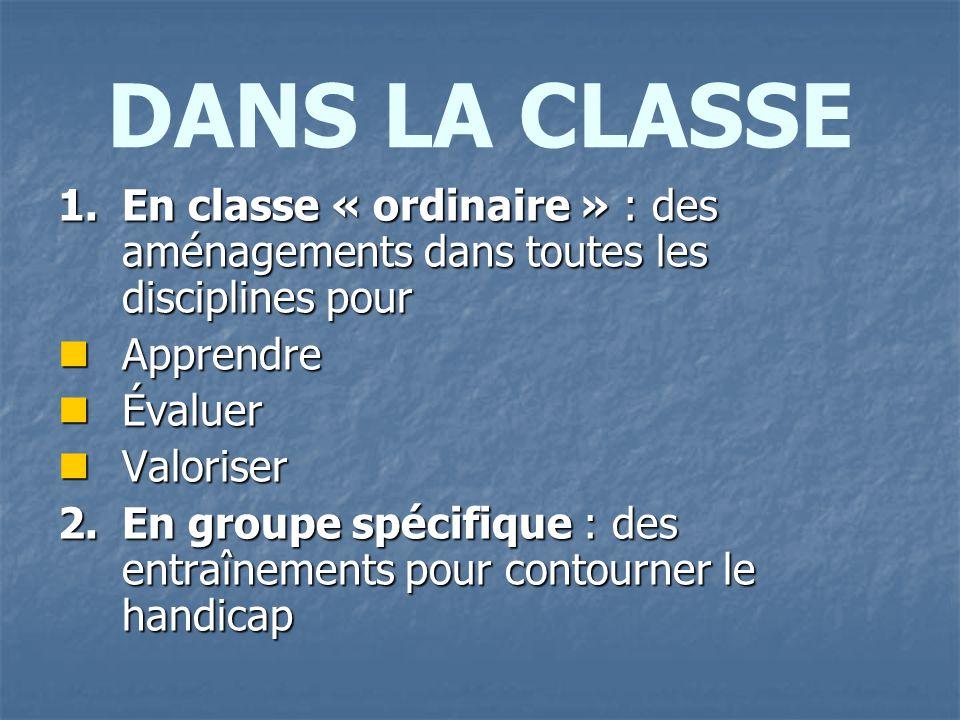 DANS LA CLASSE En classe « ordinaire » : des aménagements dans toutes les disciplines pour. Apprendre.