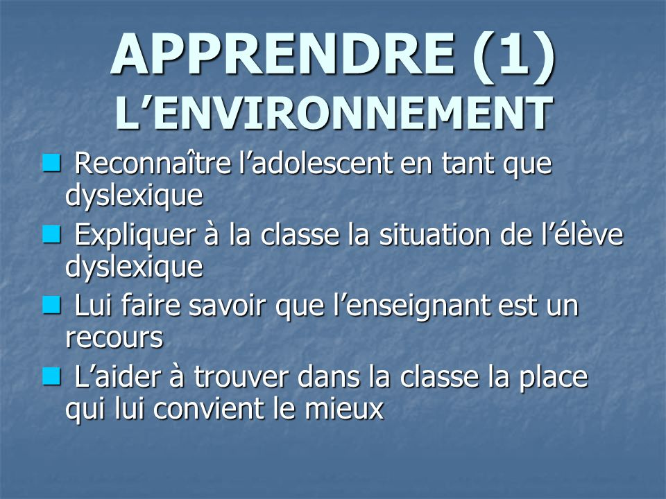 APPRENDRE (1) L'ENVIRONNEMENT