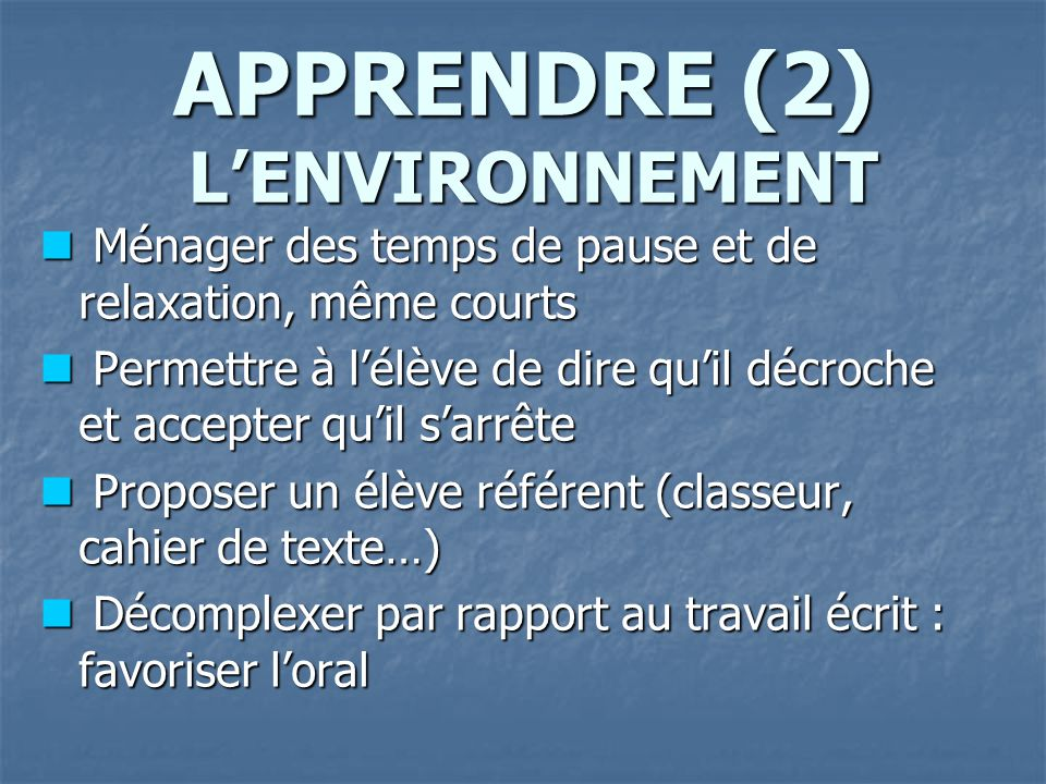 APPRENDRE (2) L'ENVIRONNEMENT