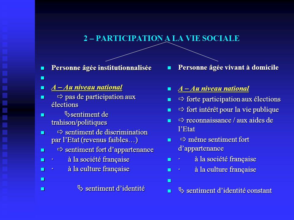 2 – PARTICIPATION A LA VIE SOCIALE