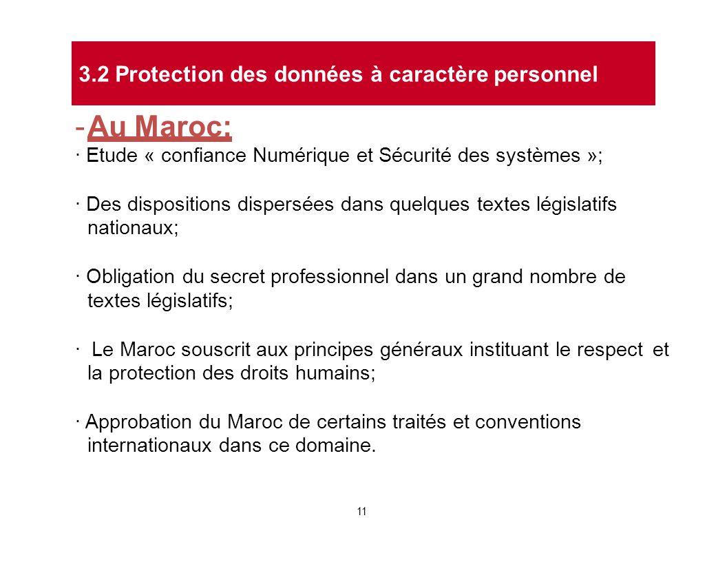 - Au Maroc: 3.2 Protection des données à caractère personnel