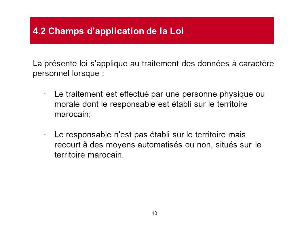 4.2 Champs d'application de la Loi
