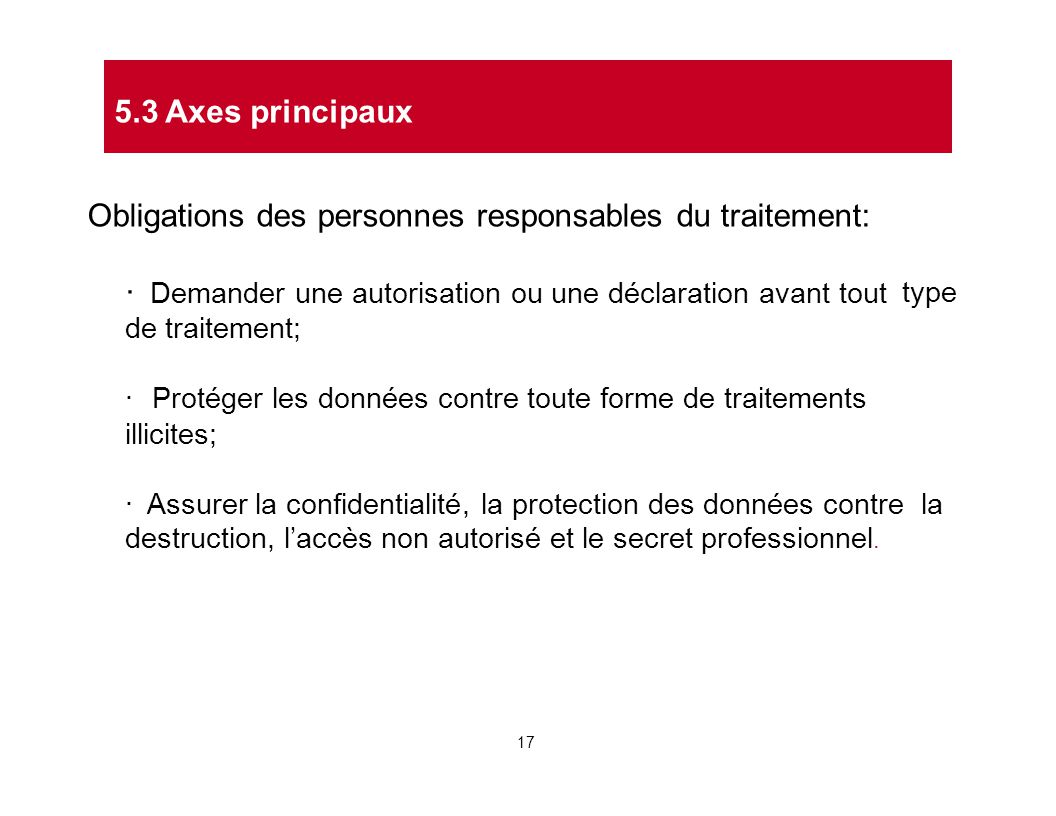Obligations des personnes responsables du traitement: