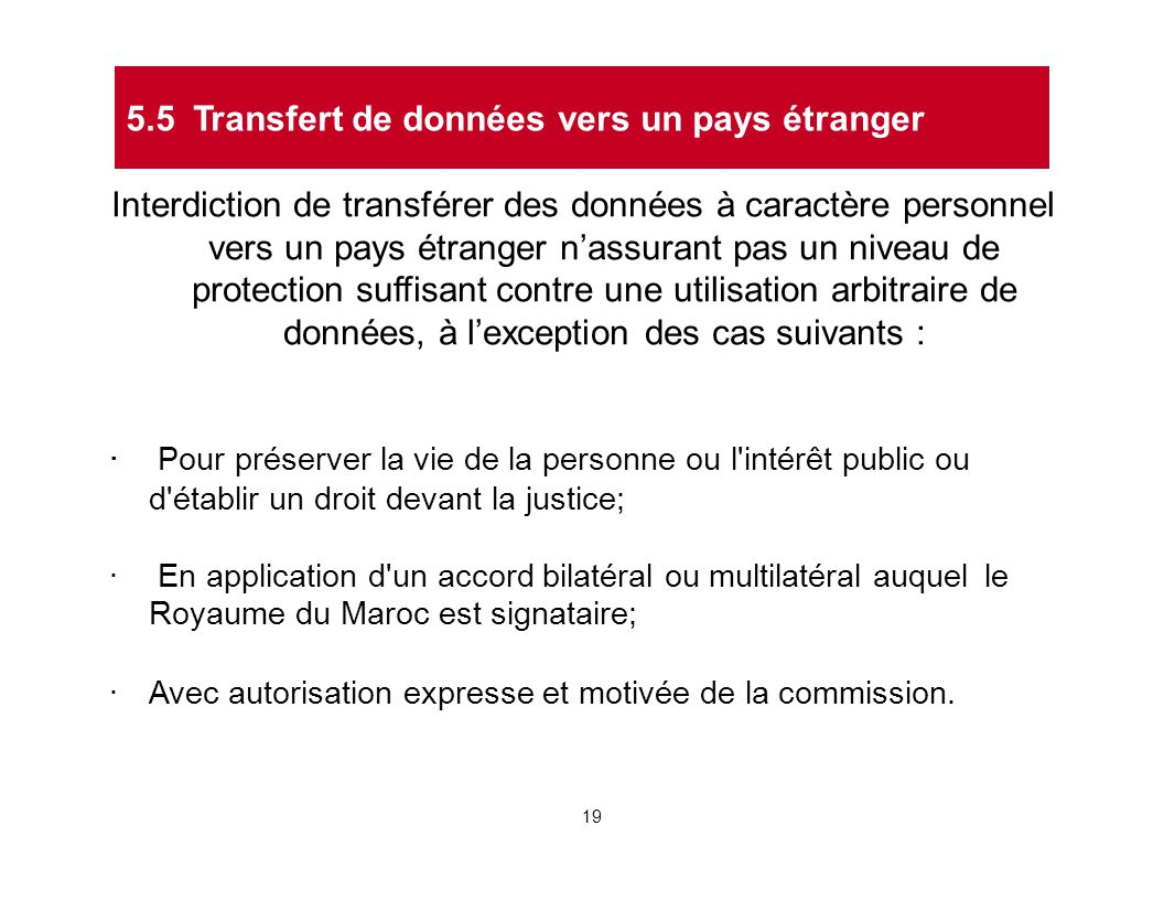 5.5 Transfert de données vers un pays étranger