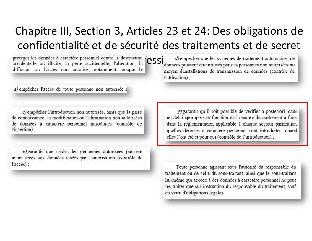 Chapitre III, Section 3, Articles 23 et 24: Des obligations de confidentialité et de sécurité des traitements et de secret professionnel