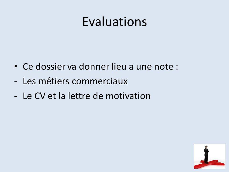 Evaluations Ce dossier va donner lieu a une note :