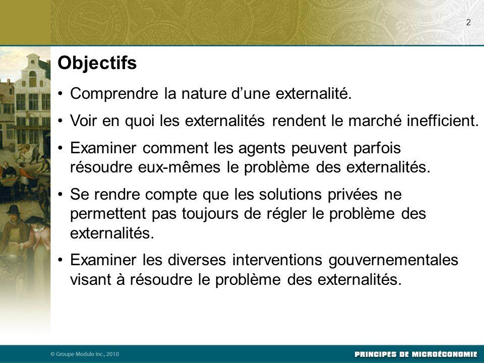 Objectifs Comprendre la nature d'une externalité.