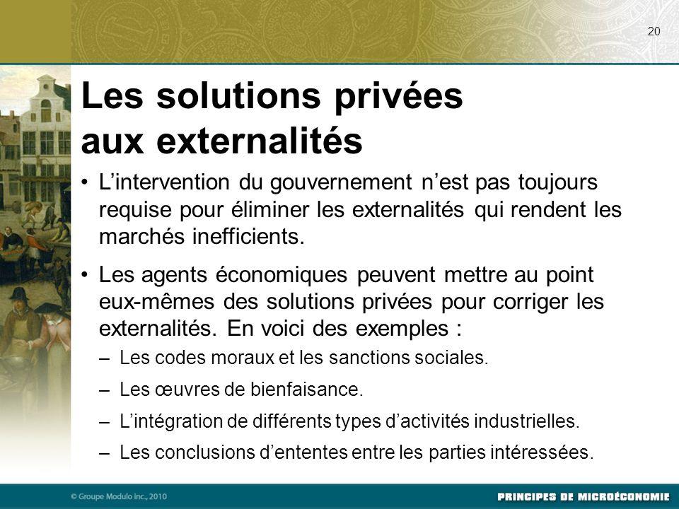 Les solutions privées aux externalités