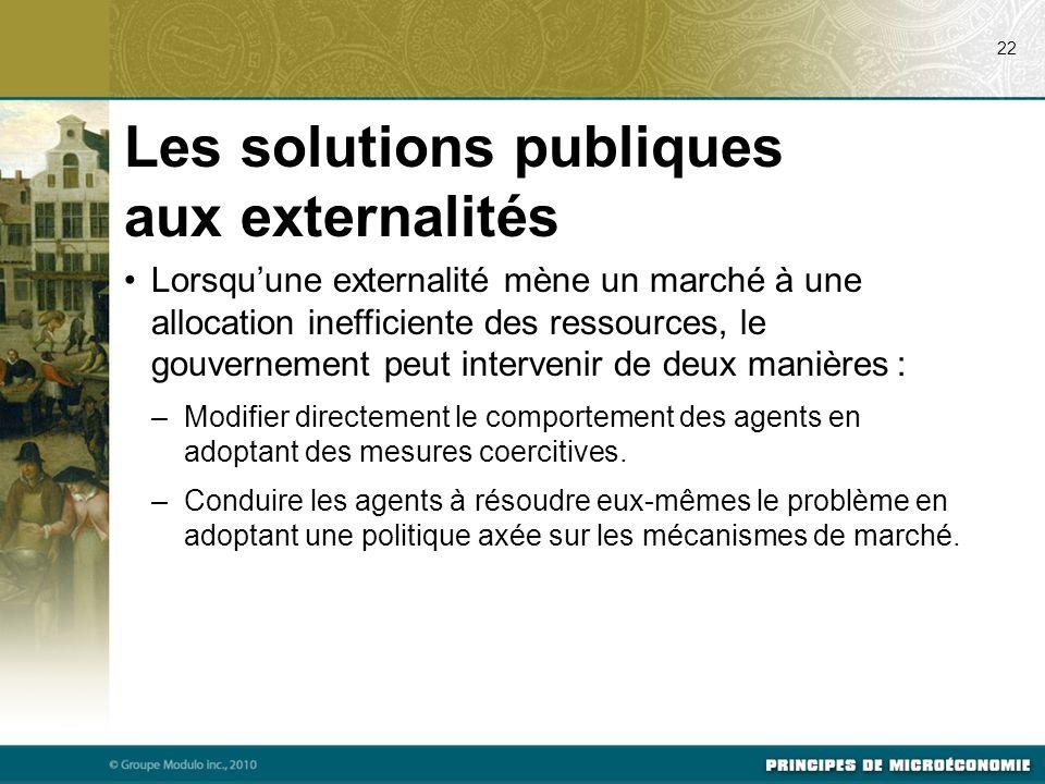 Les solutions publiques aux externalités