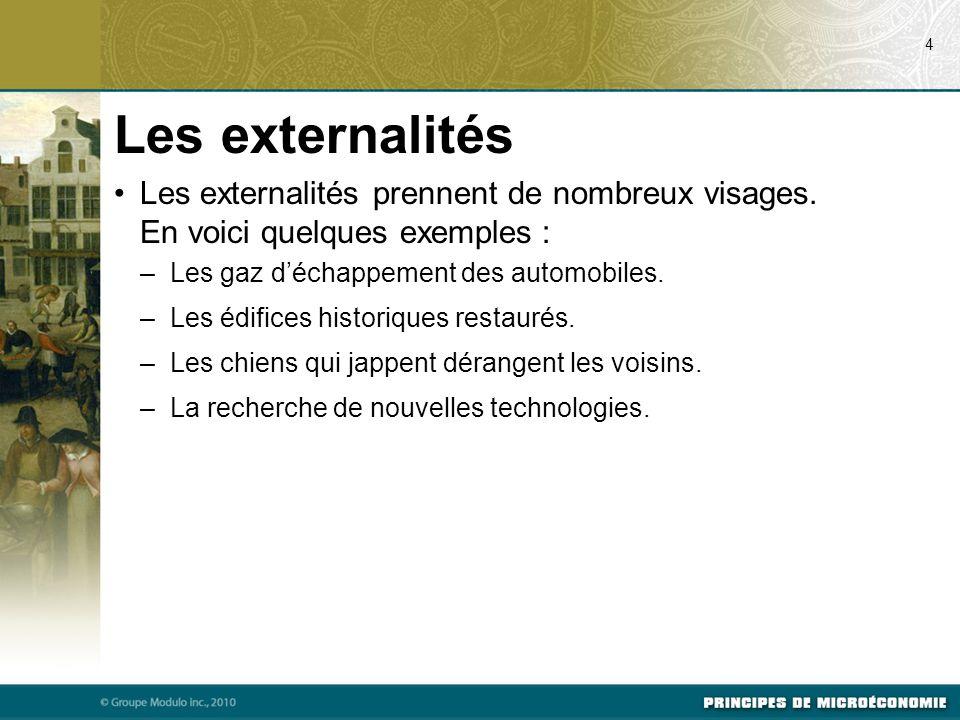 07/22/09 4. Les externalités. Les externalités prennent de nombreux visages. En voici quelques exemples :