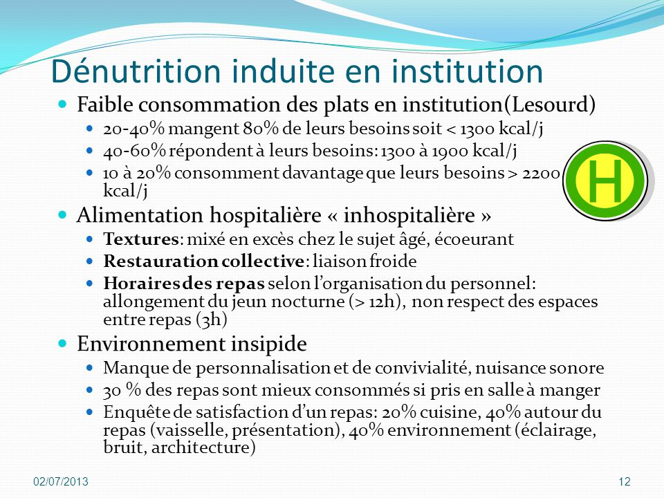 Dénutrition induite en institution