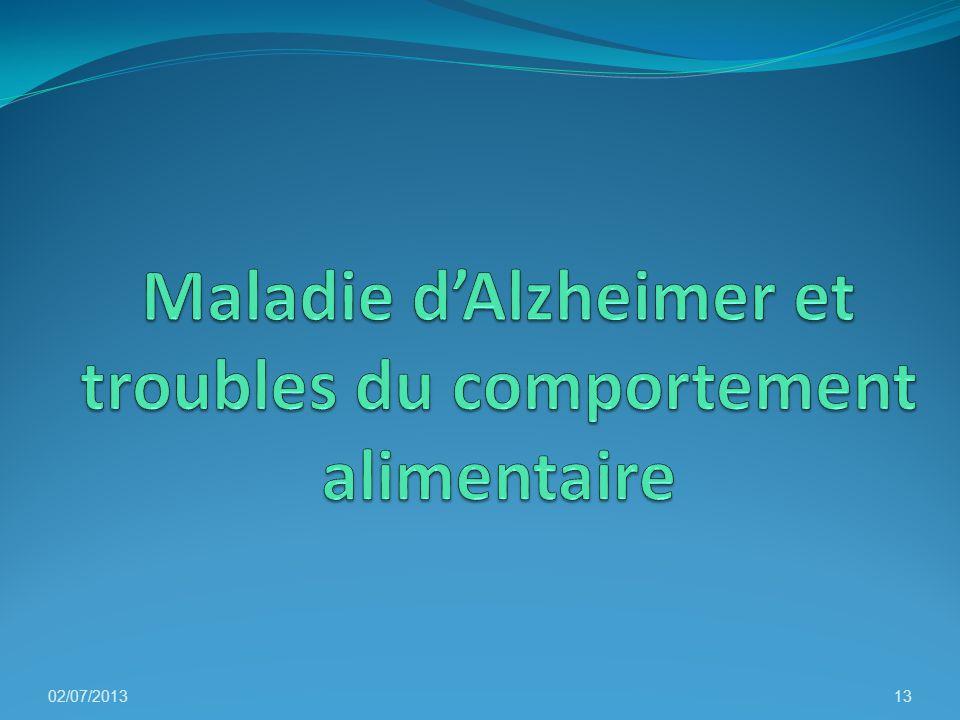 Maladie d'Alzheimer et troubles du comportement alimentaire