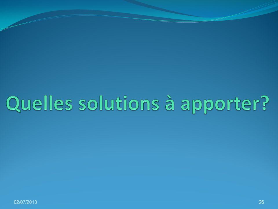 Quelles solutions à apporter