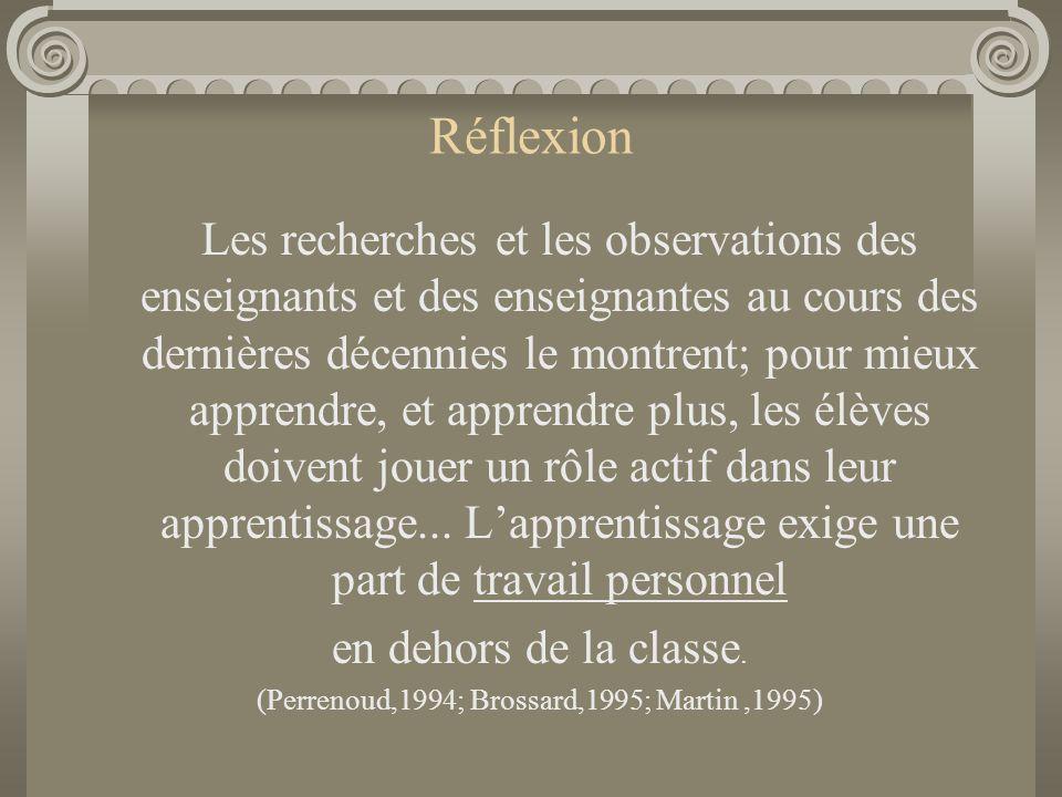 (Perrenoud,1994; Brossard,1995; Martin ,1995)