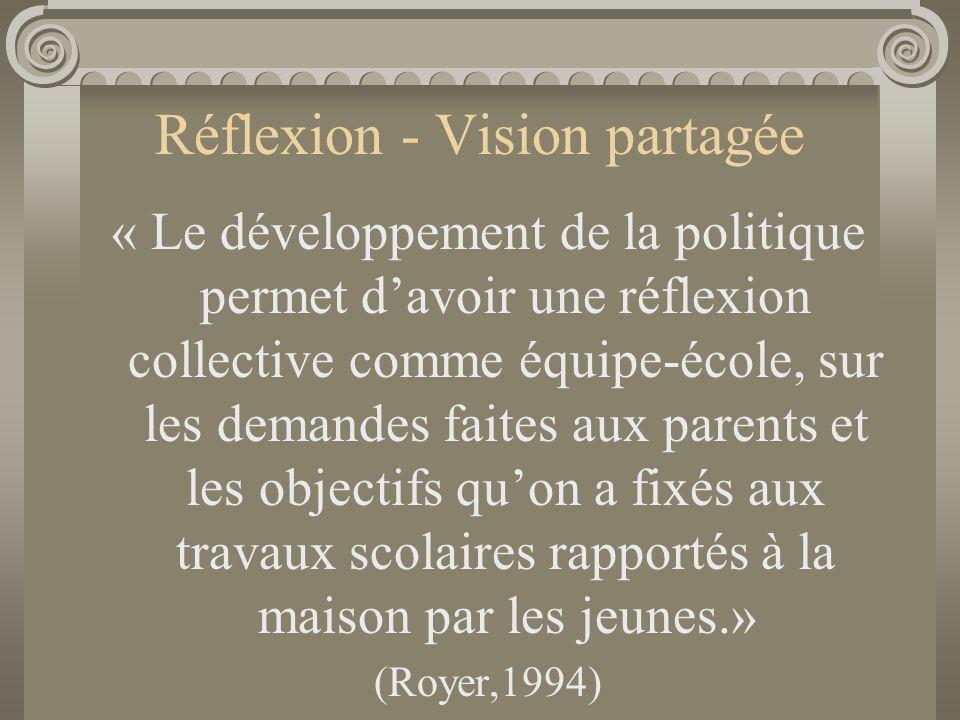 Réflexion - Vision partagée