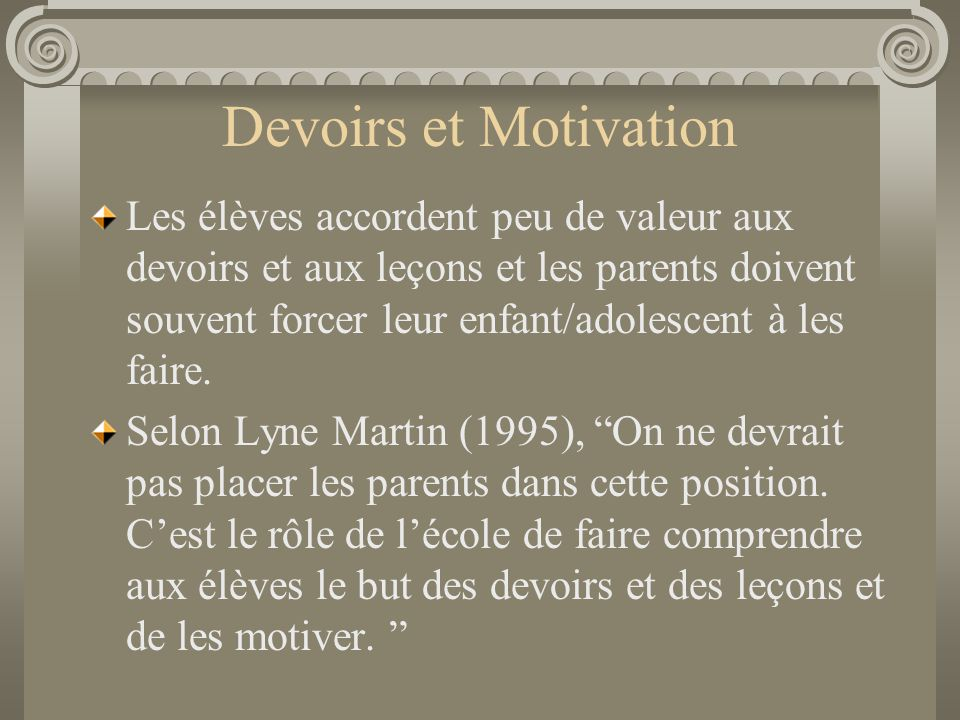 Devoirs et Motivation