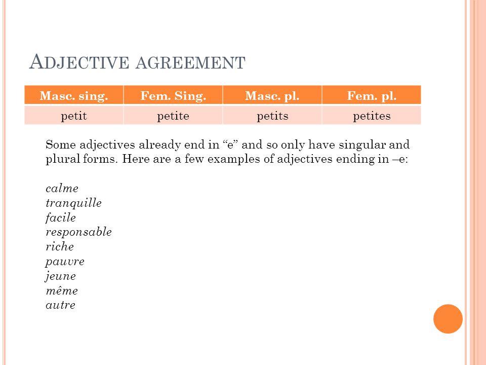 Adjective agreement Masc. sing. Fem. Sing. Masc. pl. Fem. pl. petit