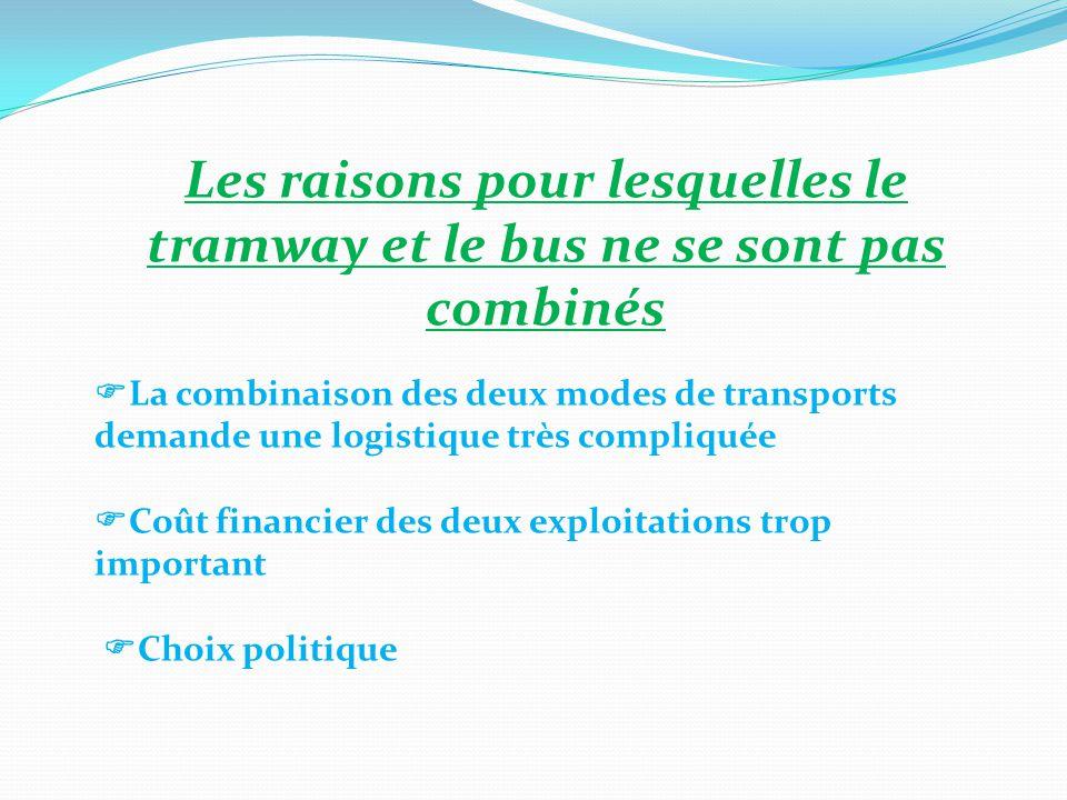 Les raisons pour lesquelles le tramway et le bus ne se sont pas combinés