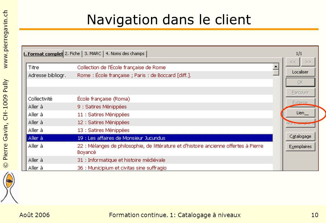 Navigation dans le client