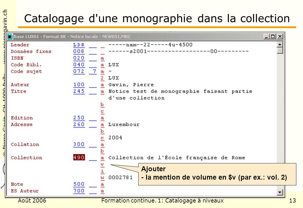 Catalogage d une monographie dans la collection
