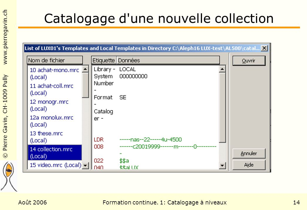 Catalogage d une nouvelle collection