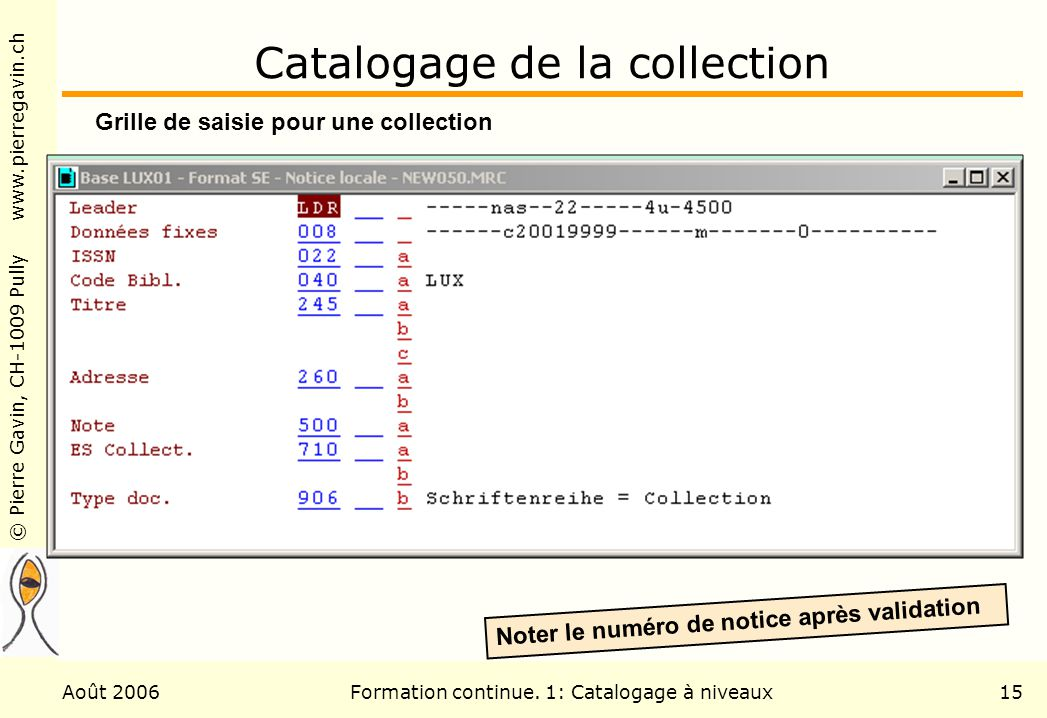 Catalogage de la collection