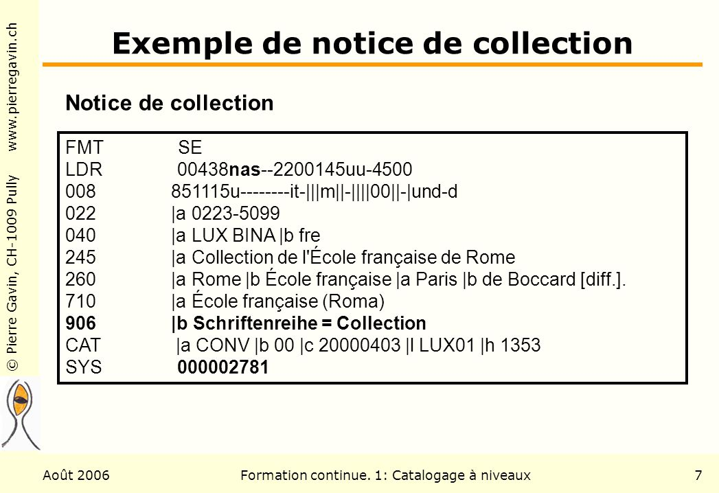 Exemple de notice de collection