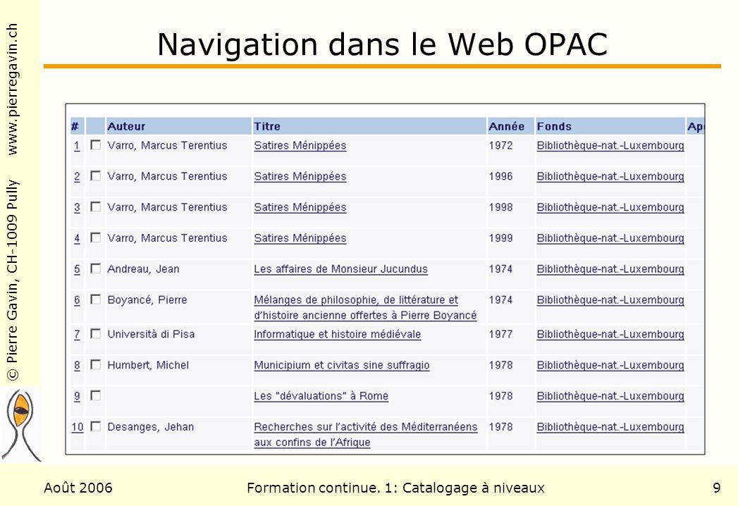 Navigation dans le Web OPAC