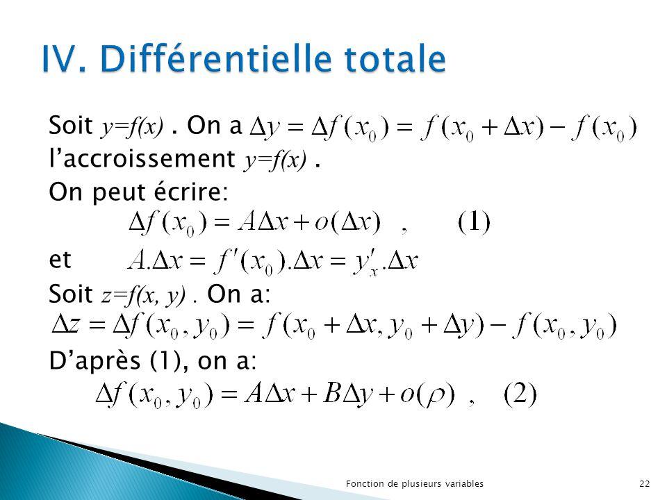 IV. Différentielle totale