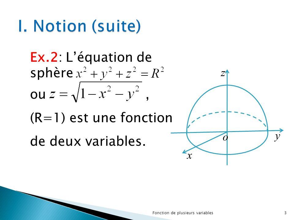 I. Notion (suite) Ex.2: L'équation de sphère