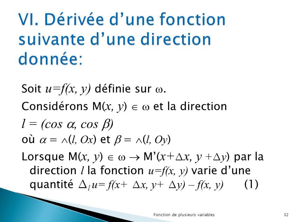 VI. Dérivée d'une fonction suivante d'une direction donnée: