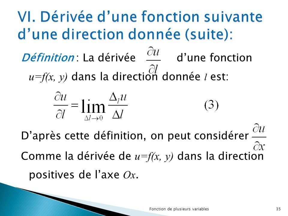 VI. Dérivée d'une fonction suivante d'une direction donnée (suite):
