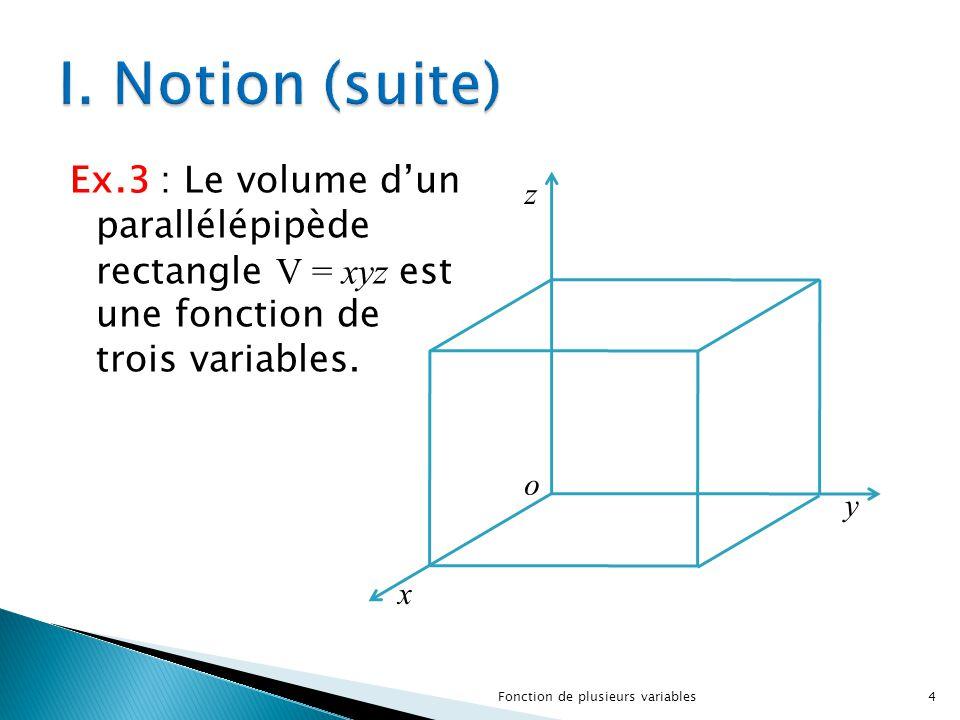 I. Notion (suite) Ex.3 : Le volume d'un parallélépipède rectangle V = xyz est une fonction de trois variables.