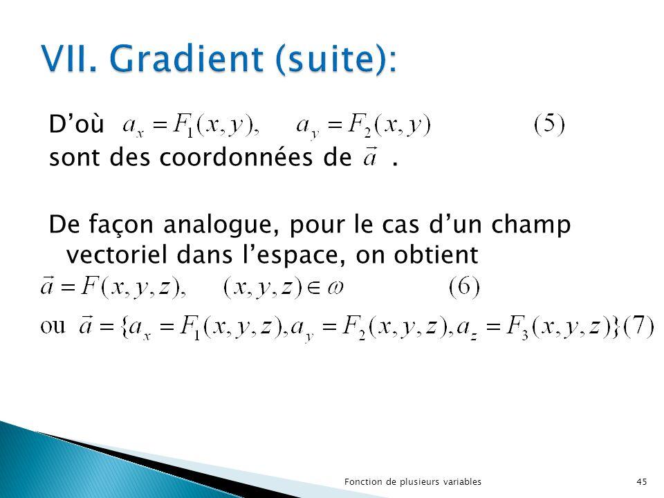 VII. Gradient (suite): D'où sont des coordonnées de . De façon analogue, pour le cas d'un champ vectoriel dans l'espace, on obtient